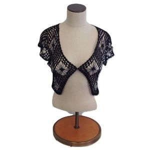 NWT Millau LF Stores Black Silver Bead Floral Top